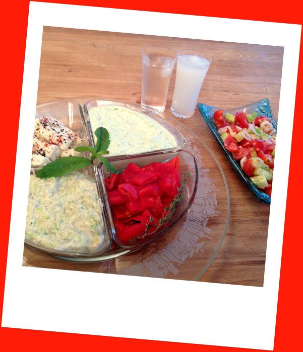 meze tabağı ve salata
